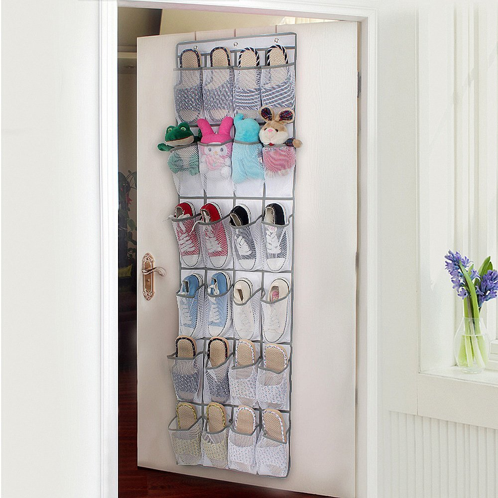 Door Shoes Storage, Hanging Shoes Bag Nylon Mesh Over The Door Foldable Storage Bag Organizer with Hooks 24 Pockets White