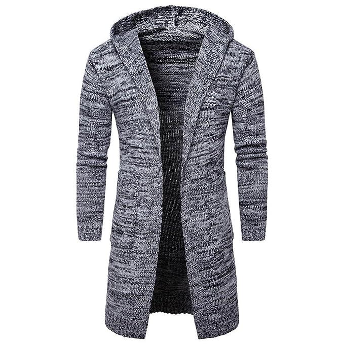 Hoodie Mantel Herren Sunday Männer Mens Slim Fit Kapuze Stricken Pullover  Mode Cardigan Lange Trenchcoat Solide 32043192c7