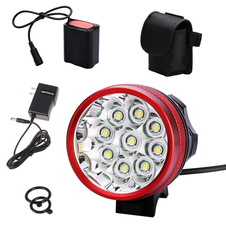 3PACK nktech N99x Cree XM-L T6LED Fahrrad Scheinwerfer Light U2mit 9600mAh 6pcs 18650Akku + Ladegerät rot Wandern