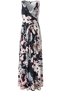 adf9defbe32 Zattcas Womens Bohemian Printed Wrap Bodice Sleeveless Crossover Maxi Dress