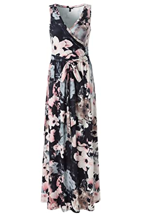 7d5bd1e71f Zattcas Womens Bohemian Printed Wrap Bodice Sleeveless Crossover Maxi Dress