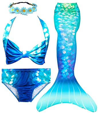 65bff482fa38d Amazon.com: 4 PCS Girls Swimsuit Mermaid Tail for Swimming Kids Mermaid  Swimwear Set Bathing Suit Princess Costumes: Clothing