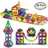 LIVEHITOP 84 Piece Kids Magnetic Blocks Toys Tiles, Educational Magnet Building Construction Play Boards Set for Kids Children's Day. (Random Color)