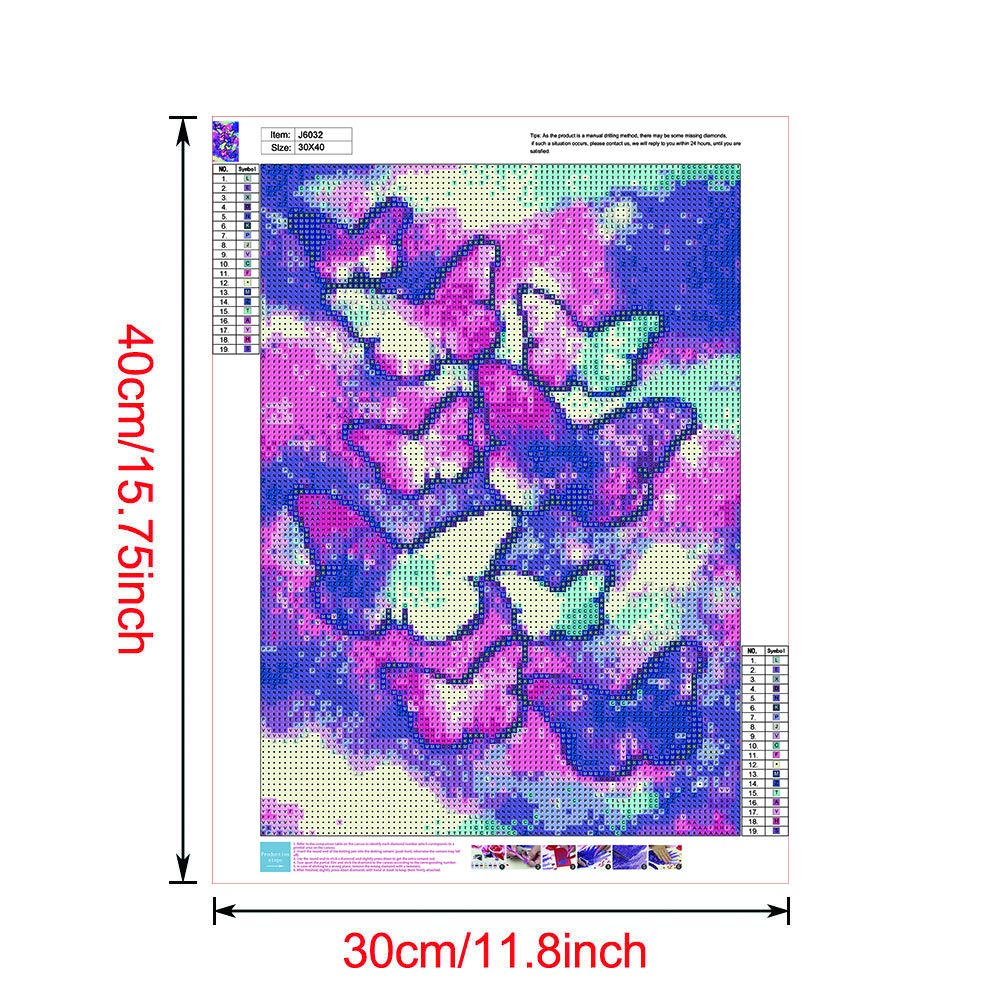 5D Diamond Painting Kits for Adults Color Butterfly feilin Full Drill DIY Cross Stitch Crystal Mosaic Picture Artwork for Home Wall Decor Gift 40x30cm