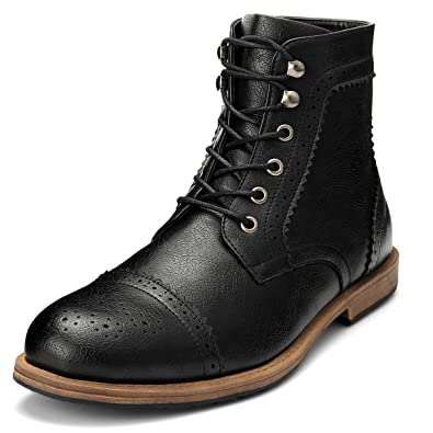 Gm Golaiman Mens Dress Boots Casual Lace Up Cap Toe Boots