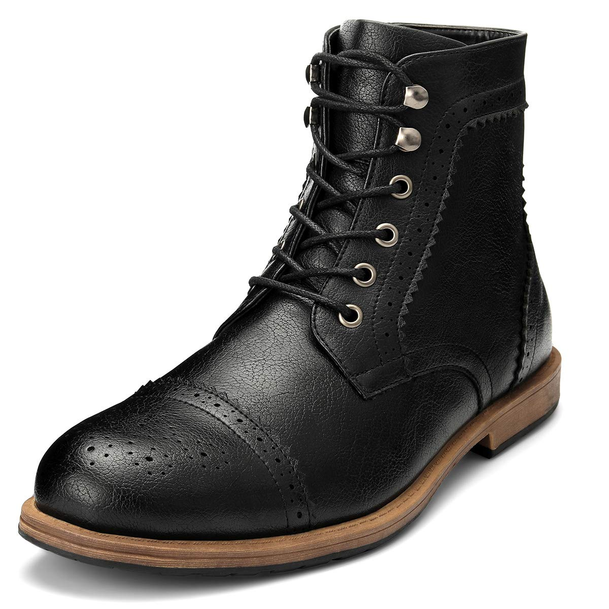 Men's Brogue Boots Ankle Oxford - Dress Boot Lace Up Zip Cap Toe Work Motorcycle Riding Hiking Botas Invierno Hombre(Black-8.5 (M) US)
