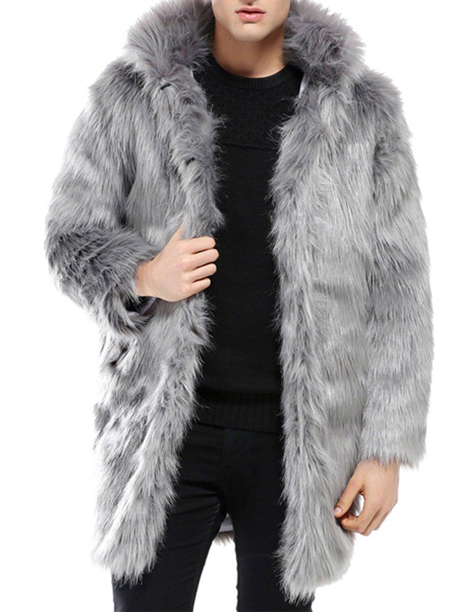 JOLLYCHIC Men's Long Hair Faux Fox Fur Hooded Thicken Winter Coat Jacket by JOLLYCHIC