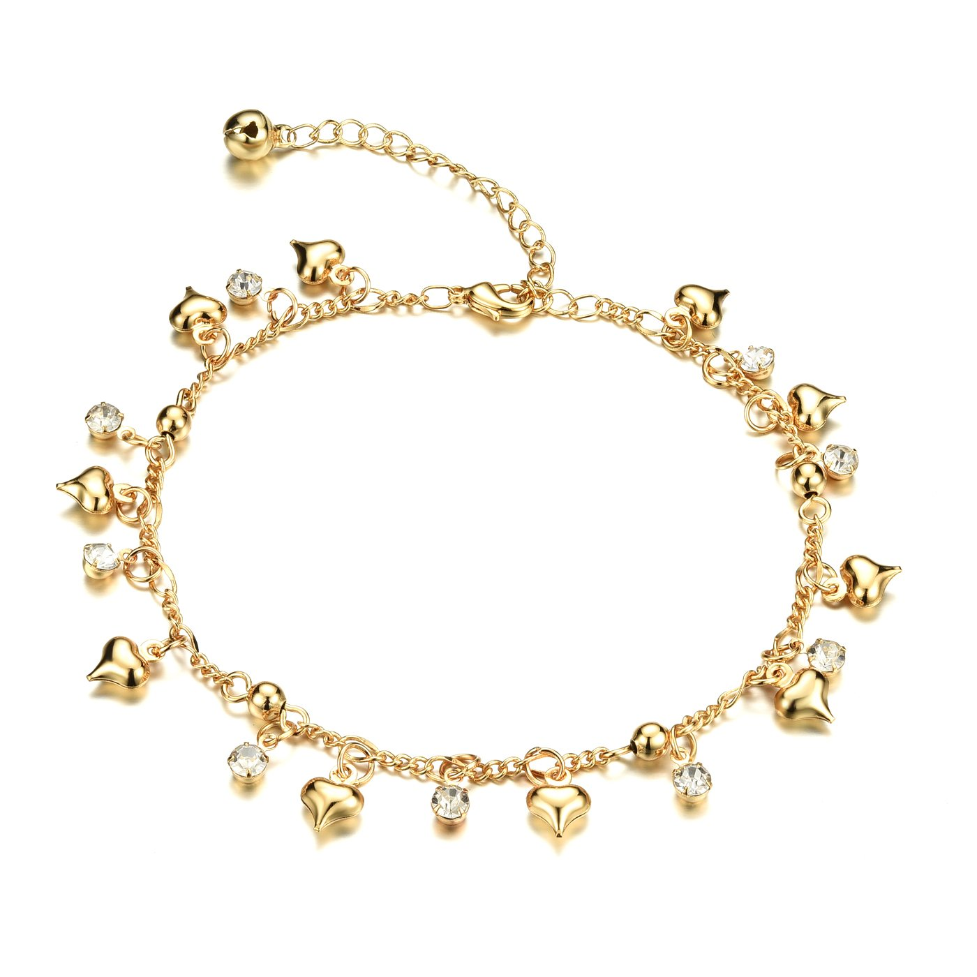 Fashion Aanklets 18K Gold Tone Rhinestone Charm Beach Foot Chain Aanklet for Women L7.99+2''
