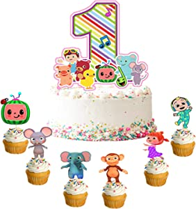 25pcs Coco-melon 1st Birthday Cake Topper Cupcake Toppers Set Coco-melon First Birthday Decorations Party Supplies For Baby Boys Girls Birthday Decor