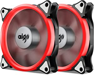Aigo, Halo Ring LED 120mm 12cm PC CPU Computer Case Cooling Neon Quite Clear Fan Mod 4 Pin/3 Pin (120mm, 2 Pack Red)