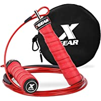 XGEAR Cuerda de Salto de Velocidad Combas Ajustables Dobladas con Rodamientos de Bolas Entrenamiento para Los Dobles Unders WOD Al Aire Libre MMA Boxeo Formación