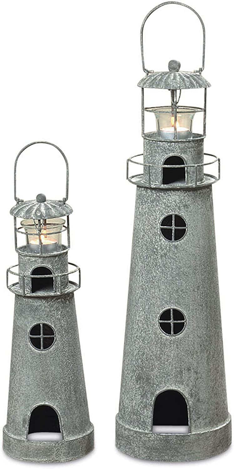 WHW Whole House Worlds Rustic Cape Cod Style Americana Lighthouse Tea Light Holders, Set of 2, 14 1/4 and 21 1/4 Inches Tall