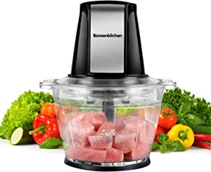 Electric Food Chopper Processor, Bonsenkitchen Food Grinder with 1L Glass Bowl, Sharp Blades for Mincing, Chopping, Grinding and Meal Prep, Easy Operation, 200W