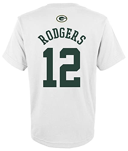 3682eb36 Outerstuff Aaron Rodgers Green Bay Packers #12 White Youth Mainliner Name &  Number T Shirt