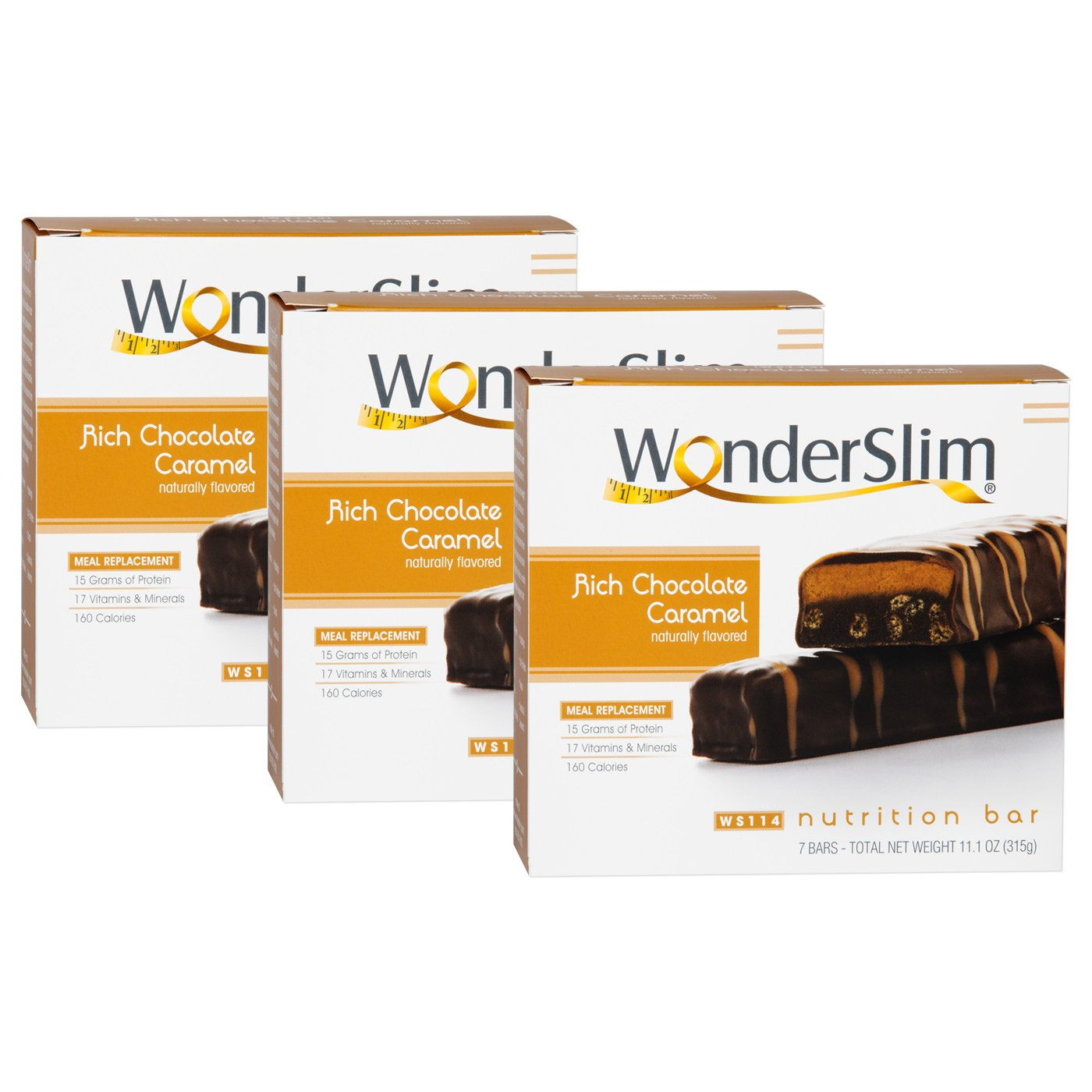 WonderSlim High Protein Meal Replacement Bar - High Fiber, Kosher, Rich Chocolate Caramel - 3 Box Value-Pack (Save 5%)
