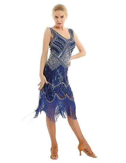 YiZYiF Vestido Fiesta Cóctel Mujer Vestido 1920s Disfraz ...