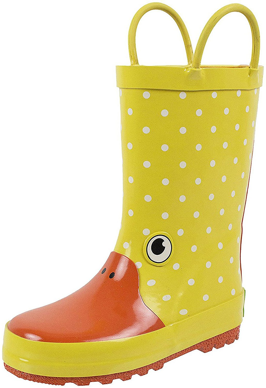 Rainbow Daze Kids Rain Boots Gone Quackers Yellow Duck, Waterproof, 100% Rubber, Size 2/3
