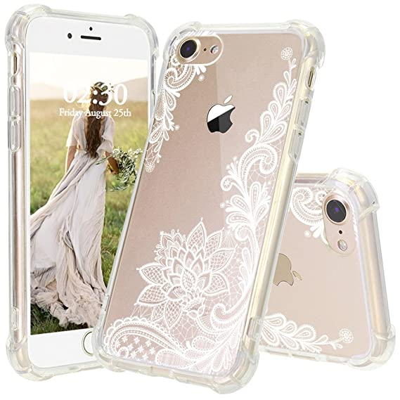 check out efe3d bcdfa iPhone 8 Case, JEXICASE White Lace Flower Pattern Clear Shock Absorption  Technology Bumper Hybrid Protective Cover Case for iPhone 8 4.7 Inch