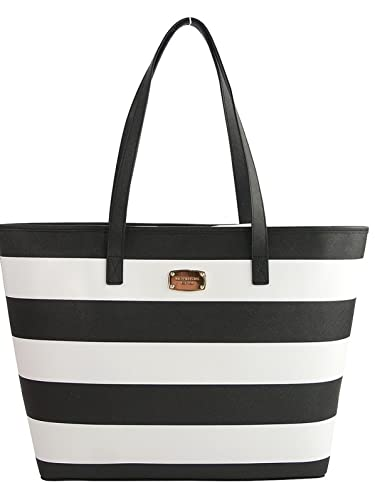 Michael Kors Jet Set Medium Stripe Travel Tote Black/white ...