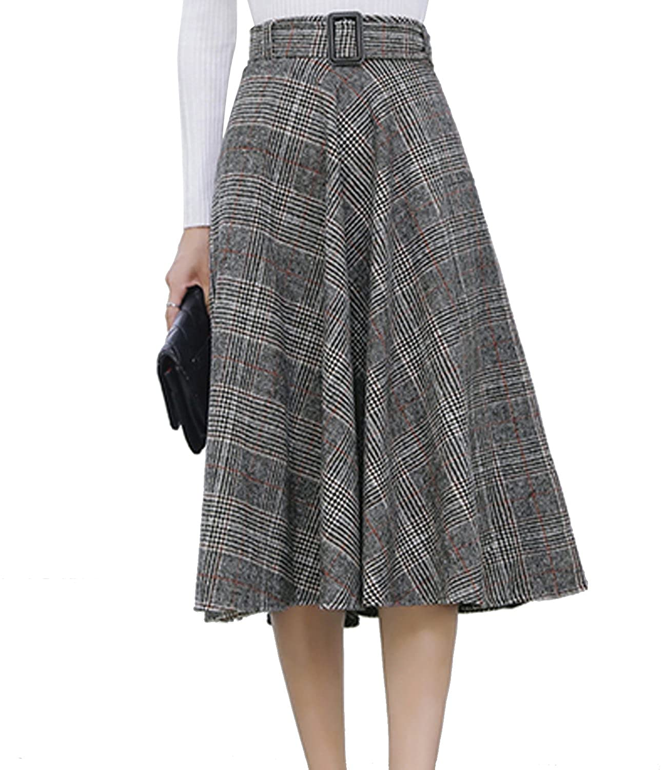1940s Style Skirts- High Waist Vintage Skirts Sanifer Womens Warm Woolen Plaid Gray Pleated A Line Skirt with Belt $27.99 AT vintagedancer.com