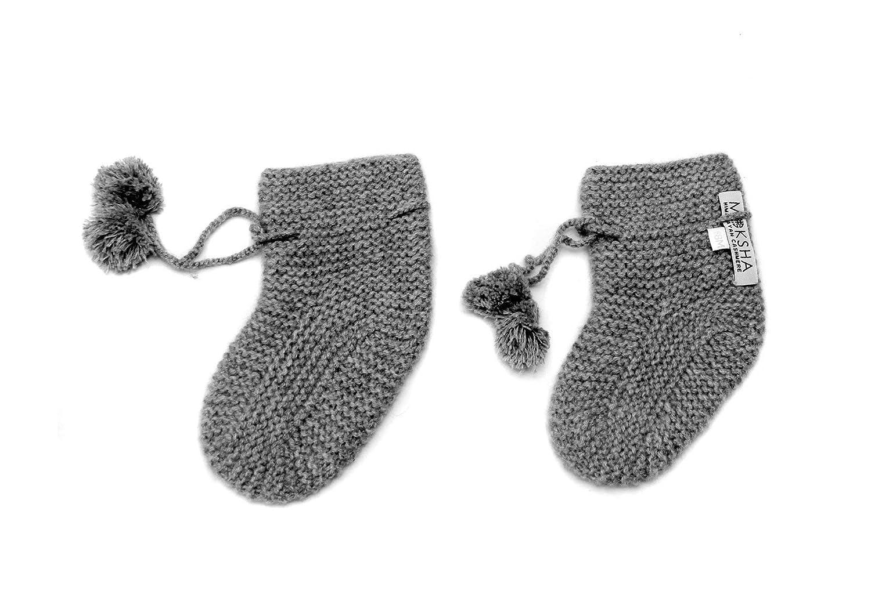 100% Kaschmir Baby Booties Socken, 4 PLY Mongolian Kaschmir 26/2 Garn, gestrickt, Grau, Neugeboren 6-18 Monate © Moksha Kaschmir