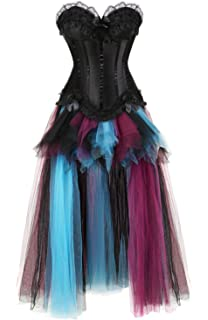 Grebrafan Damen Halloween Push Up Party Kleid Corsage und Lang Tutu-Rock  aus Tüll 8502708eac