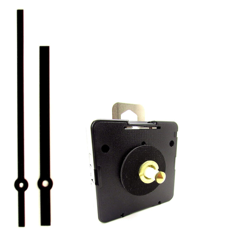 Ricambio quarzo UTS Euro albero motore meccanismo movimento orologio con lancette nere su perno–Medium–16mm Lunghezza asta 5 pezzi Black Quartz