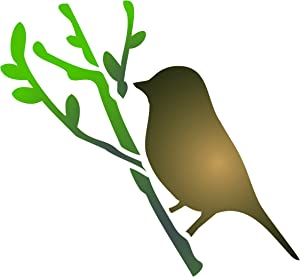 Bird Stencil, 3.25 x 3 inch (S) - Bird Branch Silhouette Stencils for Painting Template
