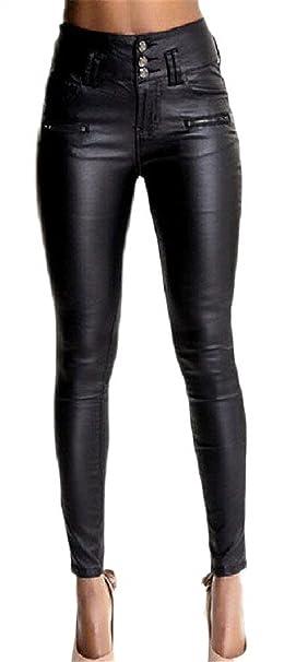 cf97e033df Leggins Cuero Mujer Primavera Otoño Pantalones De Cintura Alta Elegante  Moda Vintage Slim Fit Niñas Ropa Pantalon Cuero con Bolsillos Color Sólido  Splice ...
