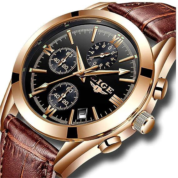 mejor sitio web 4faf4 cb613 LIGE Relojes para Hombre Militar Impermeable Deporte Cuarzo Analógico Reloj  Gents Cronógrafo Fecha Calendario Cuero Marrón Reloj de Pulsera