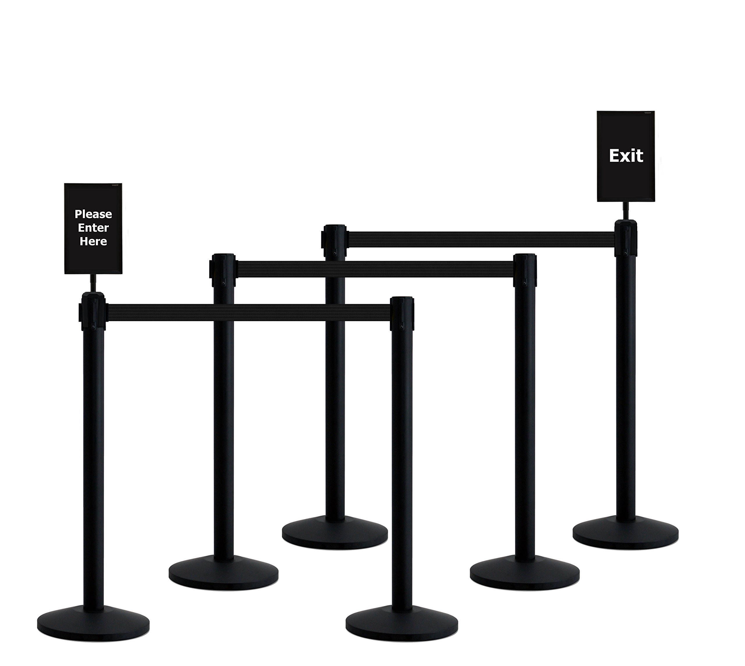 Queueway Crowd Control Retractable Belt Stanchion 6-Pack Kit with Signs USA Made (Black Webbing) by Queueway