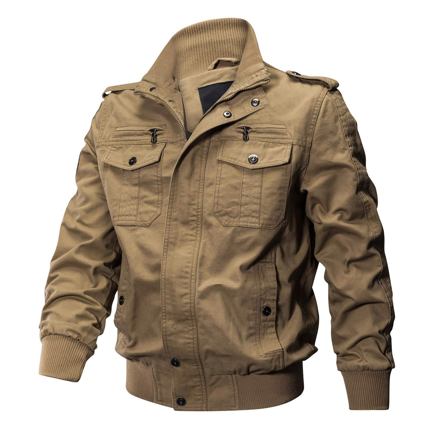 CRYSULLY Men's Spring Fall Windproof Air Force Coat Cargo Cotton Utility Full Zip Military Jacket Khaki by CRYSULLY