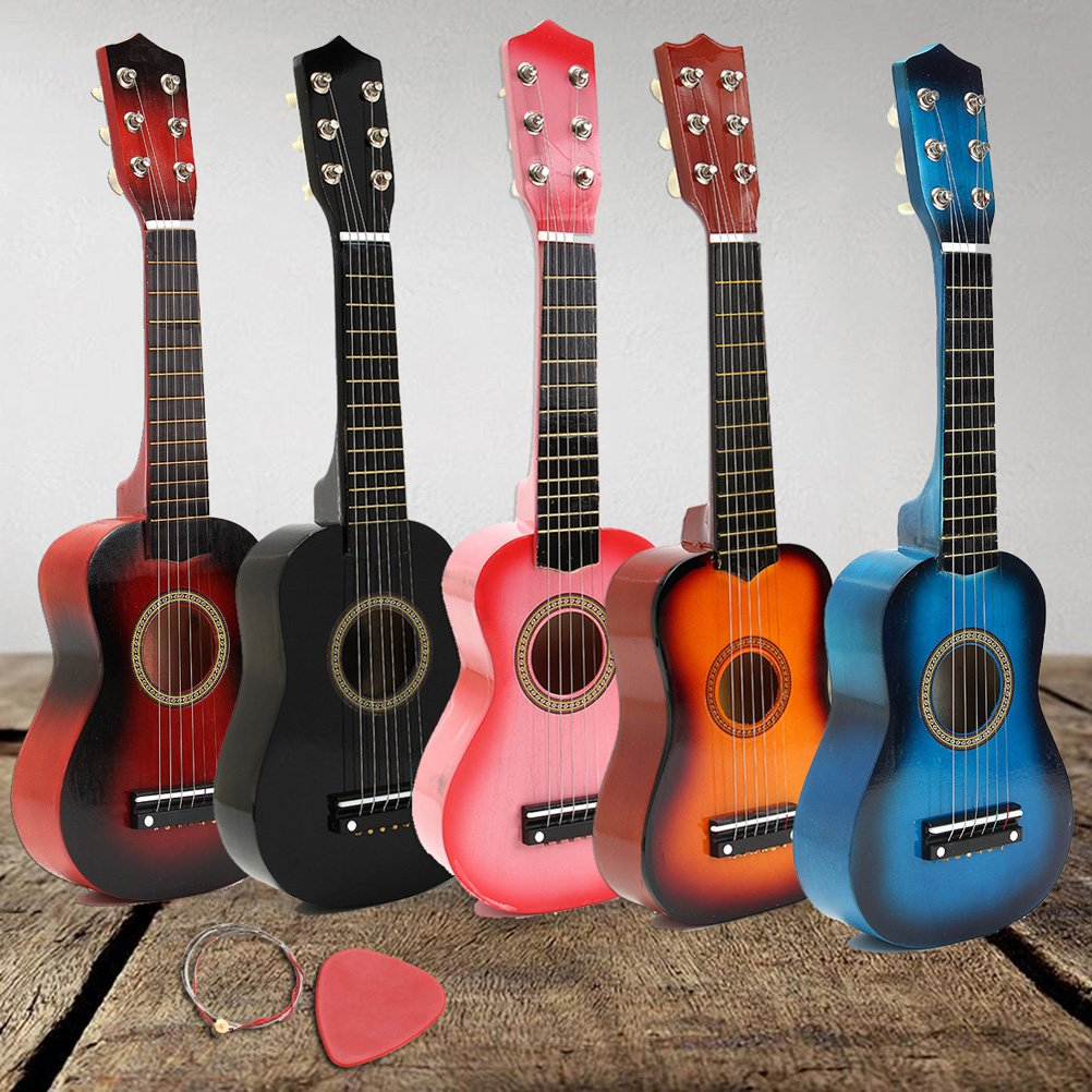Nuolux 21 Inch Childrens Acoustic Guitar Portable Small Size Wooden Guitar For Children Kids Beginners Pink