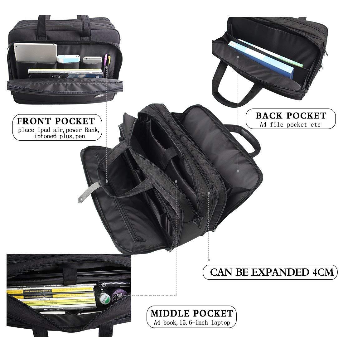 18-18.5 inch Laptop Bag,Water Resisatant Business Laptop Briefcase,Expandable High Capacity Shoulder Bag,Nylon Multi-Functional Shoulder Messenger Bag for Men Fits 17.3 inch Loptop,Computer,Tablet by LYALPH (Image #4)