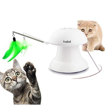 Vealind Juguete Interactivo automático 2 en 1 Giratorio para Gato con Carga USB, 360 Grados y 4 Plumas y Patrones de luz para Mascotas
