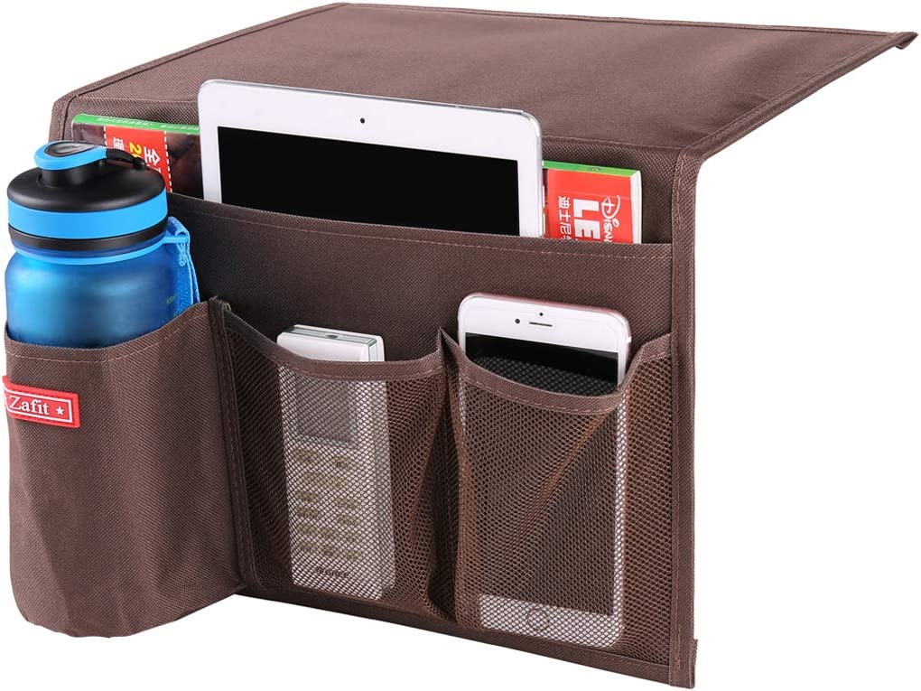 Zafit Bedside Storage Organizer, Table Cabinet Storage Organizer Bedside Organizer Caddy for Remotes Phone Glasses (4 Pockets-Coffee)