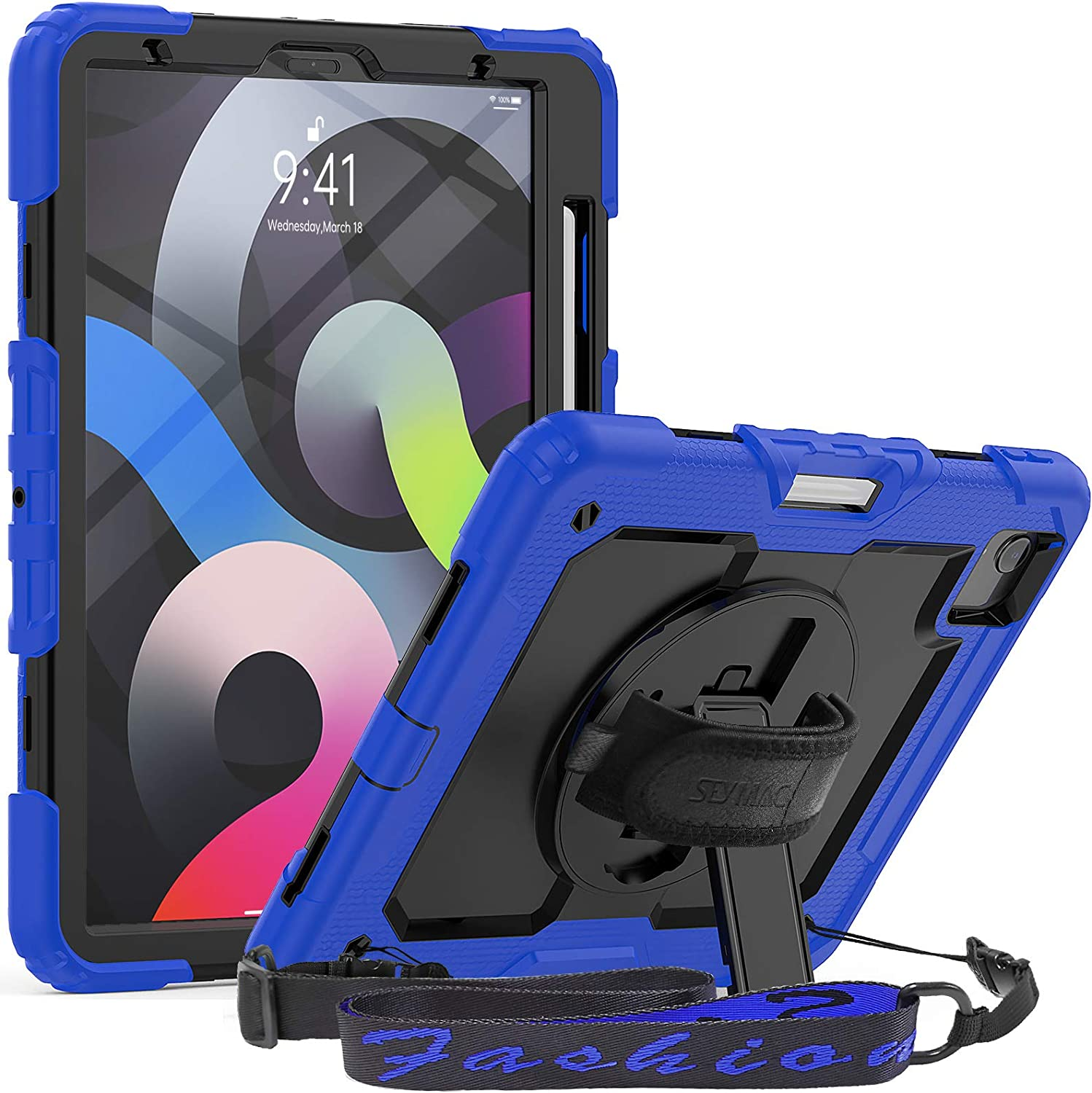 SEYMAC for iPad Air 4 10.9 Case 2020, iPad Pro 11 Case 2020/2018,[Support Apple Pencil Pair & Charging] 360 Degree Swivel Handle Strap Kickstand Protective Case for iPad 10.9'',iPad Pro 11,Black/Blue