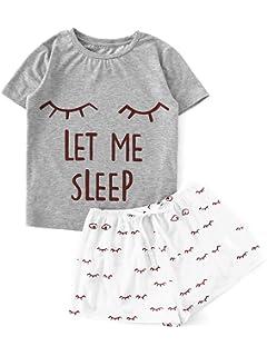 ede91ebbcf Ekouaer Womens Short Pajama Set Letter Print Cami Top Striped Shorts ...