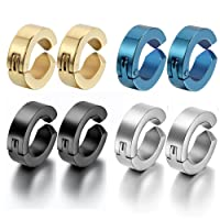 Oidea 8pcs Assorted Color Stainless Steel Mens Womens Non-Piercing Earrings, Clip on Non Piered Hinge Hoop Earrings,Hypoallergenic