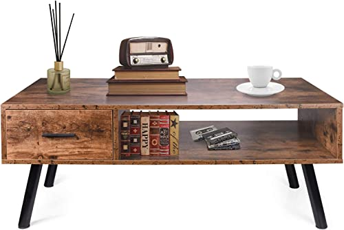 Tidyard Square Vintage Coffee Table, Antique Handmade End Side Table Living Room Furniture Reclaimed Wood