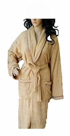 Shumaxx® Men s Ladies Bathrobe Dressing Gown Combed Egyptian Cotton Terry  Towelling Shawl Collar Bath Robe  Amazon.co.uk  Clothing 93677de79