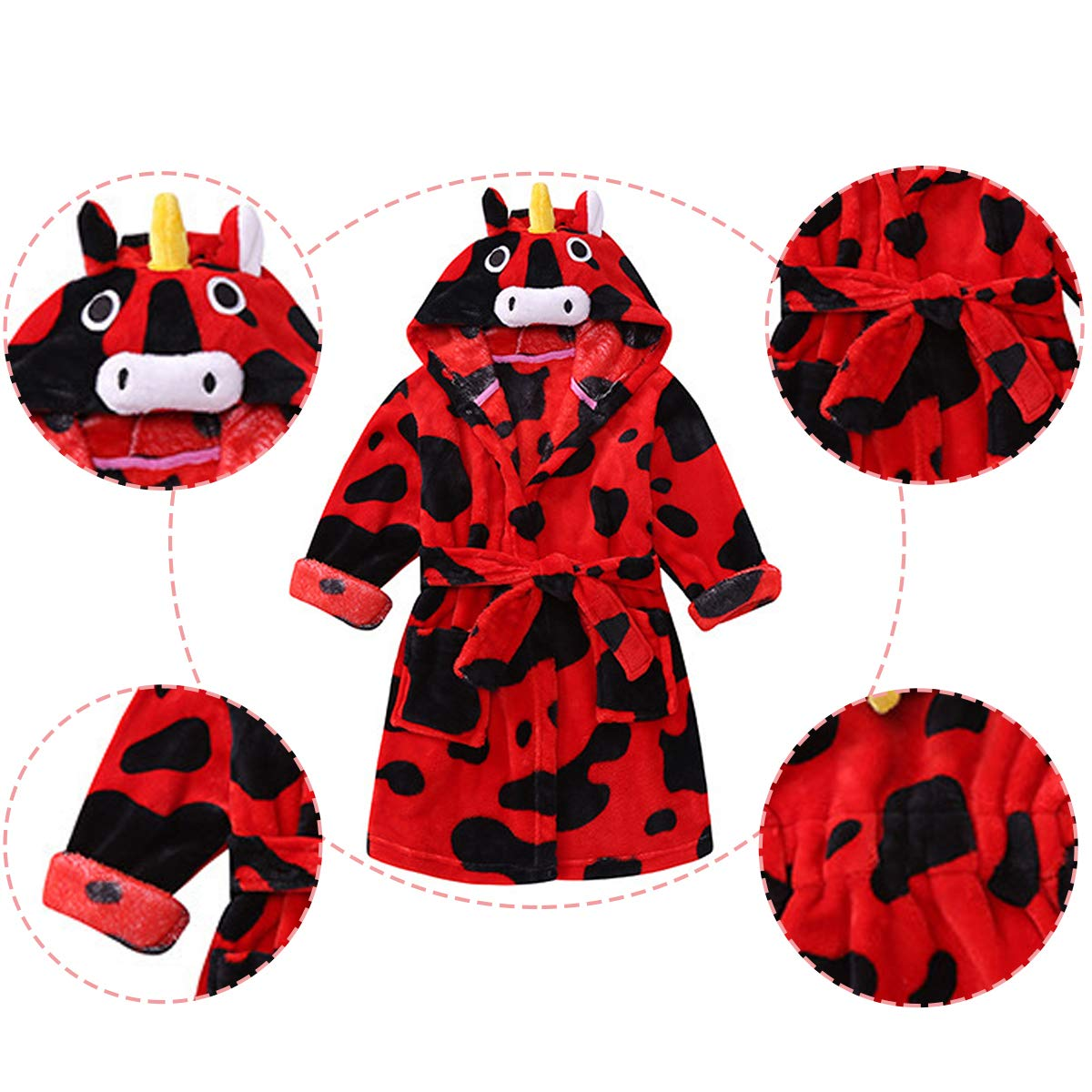 JAJADO Kids Cartoon Animal Hooded Bathrobe Super Soft Coral Fleece Sleepwear Girls Nightgown PJS