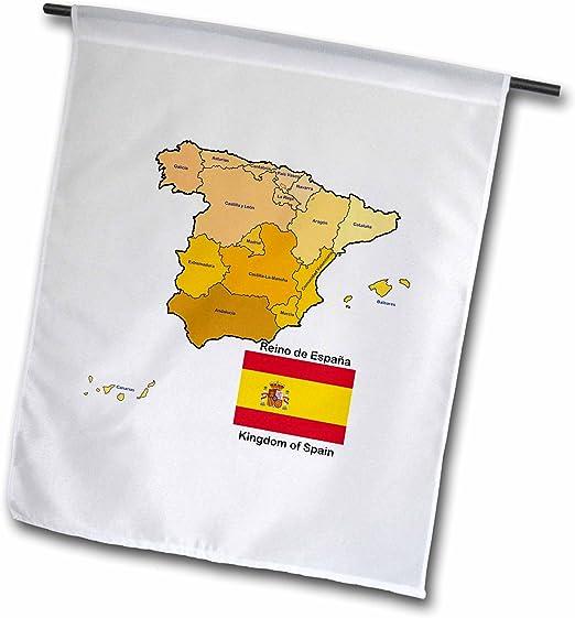 3dRose FL 110022 _ 1 Bandera y Mapa de España con Todas Las ...