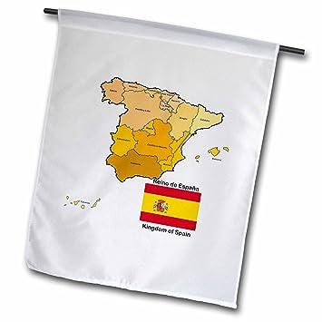 3dRose fl _ 110022 _ 1 bandera y mapa de España con todas las comunidades autónomas