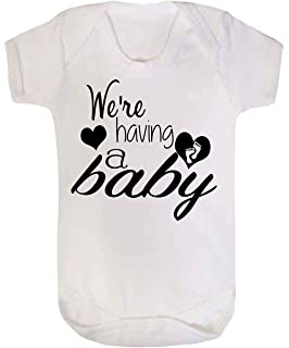 da10579d6bf We re Having a Baby Baby Vest Babygrow Bodysuit Baby Reveal Pregnancy  Annoucment White 0