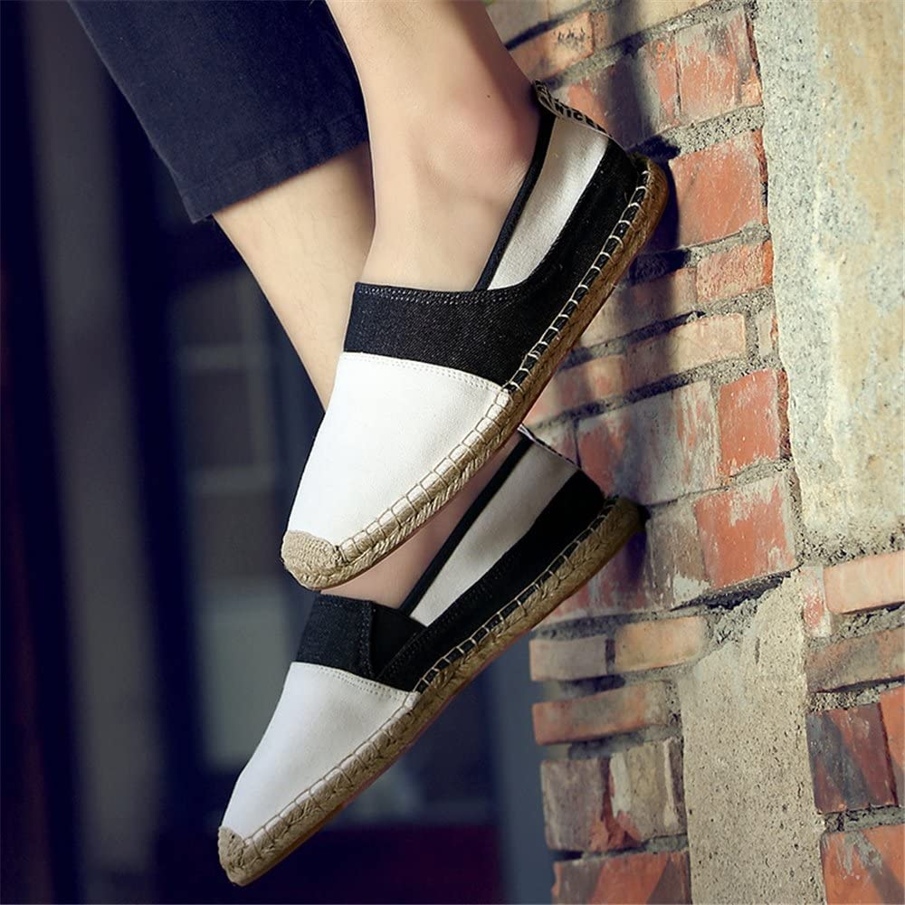 PLAN B Mens Slip On Shoes Black and White Splicing Canvas Shoes- Style-1-40//6.5 D US Men M