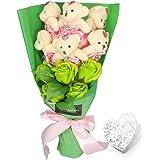 YOBANSA ソープフラワー 石鹸 花 バラ 造花 花束くま束 ベア ブーケ 可愛いぬいぐるみ (ベア6匹,花5匹) 父の日 誕生日 結婚祝い 結婚記念日のプレゼントにお勧め (グリーン)