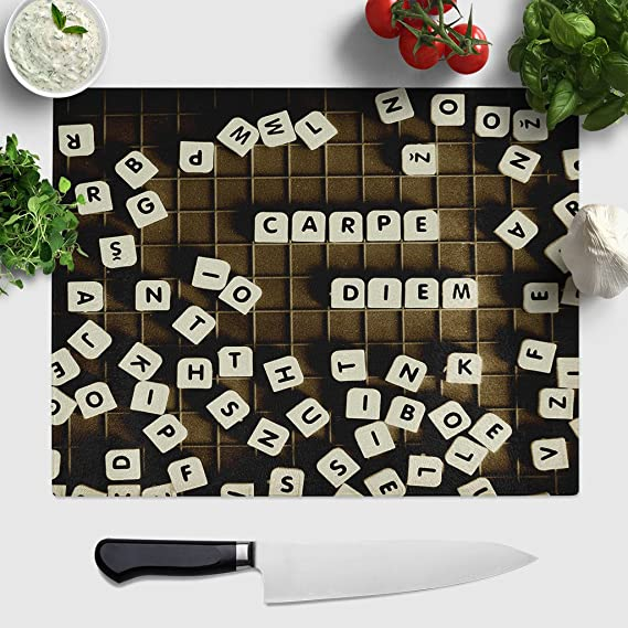 Compra Big Box Art Carpe Diem Scrabble Letras Tabla para Cortar de Cristal, Multicolor, 39 x 29 cm, Grande en Amazon.es