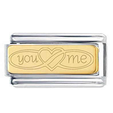 Superlink You Me Infinity Heart Engraved Charm with 18K Gold Plate - Fits nomination Classic ndioeYN8Ij
