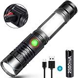 懐中電灯 ledライト 超高輝度1600ルーメン フラッシュライト USB充電式【大容量 18650電池】【実用点灯10-30時間】【マグネットテール付属】 COB作業灯 使用しています 停電 防災 地震 防犯対策【最新版】